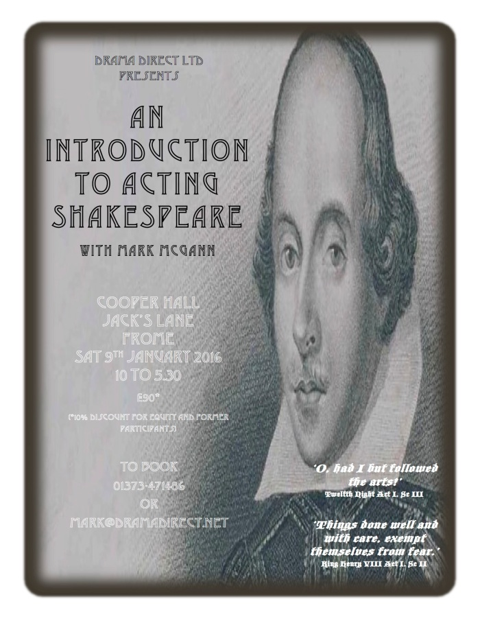 POSTER FOR INTRO TO SHAKESPEARE SAT JAN 9th 2016
