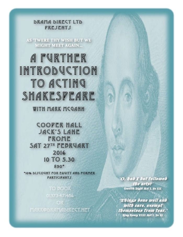 POSTER FOR A FURTHER INTRO TO ACTING SHAKESPEARE SAT JAN 9th 2016