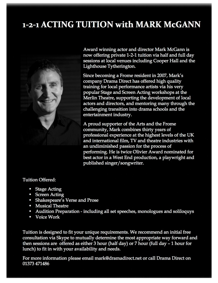 1-2-1 Acting Tuition with Mark McGann