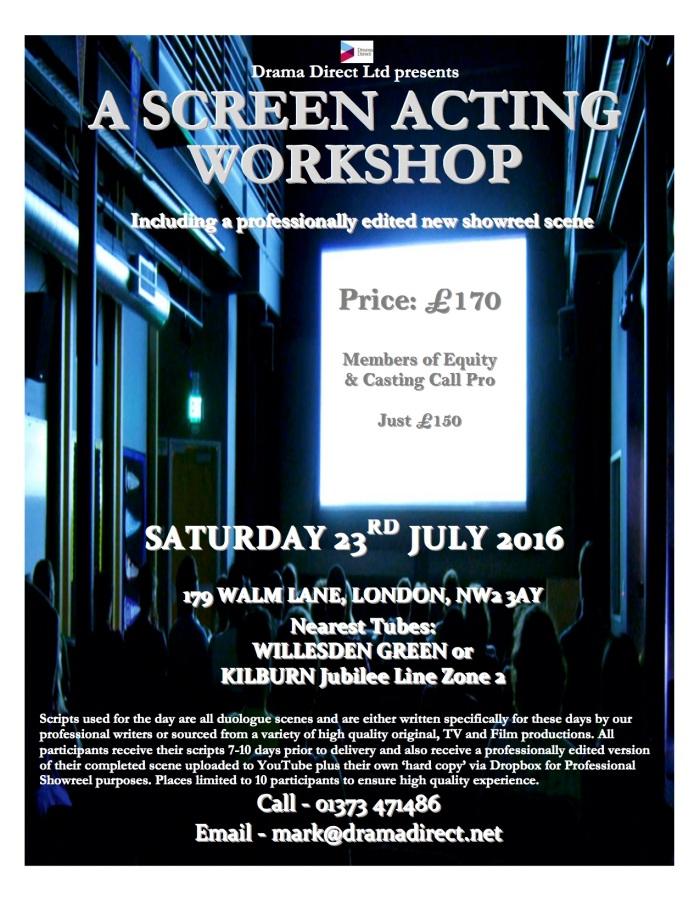 POSTER SCREEN LONDON SAT JULY 23rd 2016