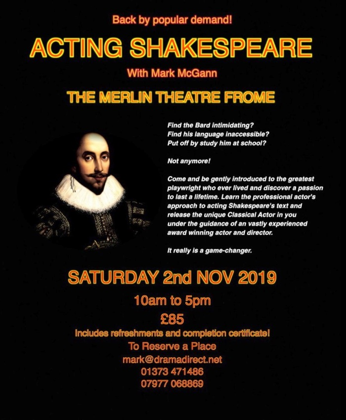 SHAKESPEARE POSTER SAT 2nd NOV 2019