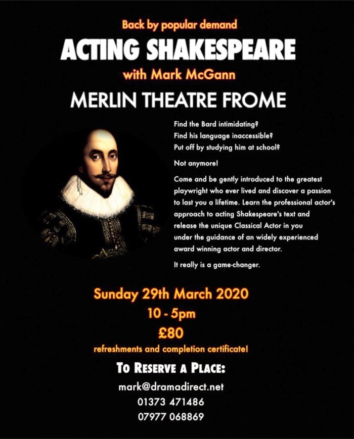 SHAKESPEARE POSTER - SUNDAY 29th MARCH 2020*